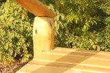 Talud/platform 200cm met glijbaan gemaakt van RVS en Robinia hout.