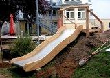 Aanbouwglijbaan gemaakt van Robinia hout en RVS extra breed