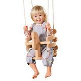 babyschommel houten paard met kind