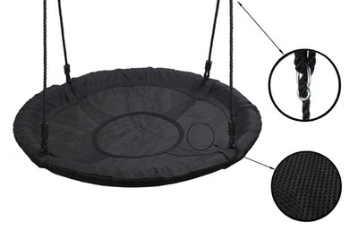 Nestschommel Comfort Zwart Ø100 cm PP touwen Premium