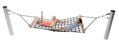Hangmat Met Rvs Frame.Hangmat In Gewapend Touw Inclusief Palen