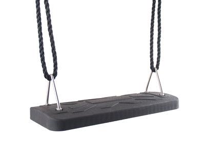 Schommelzitje Rubber Premium Zwart met Pp touwen